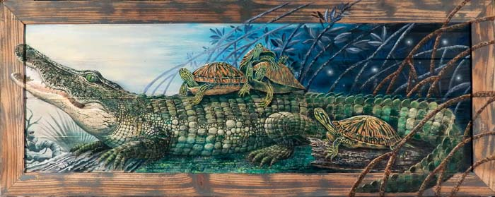Alligator and Turtles in the Mangroves