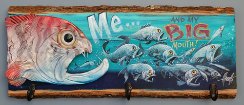 Big Mouth Fish Coat Rack sculpted in clay and painted wood.
