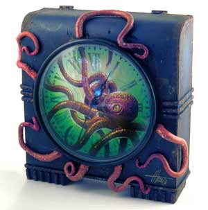 Clocktopus Metal and Clay Clock by Jim Mazzotta