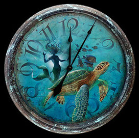 Driftin' the Night Away Mermaid airbrushed Clock